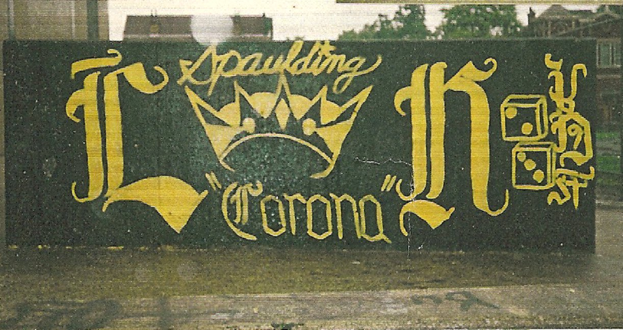 Almighty latin kings chicago gang history latin king tag over latin eagles 1980s 23rd and spaulding in little village very impressive and highly skilled wall buycottarizona